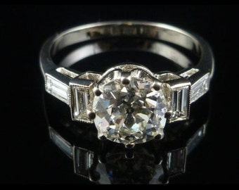 Antique Engagement Ring Deco VS1 2.21CT Old Cut Diamond Solitaire 18CT White Gold Ring