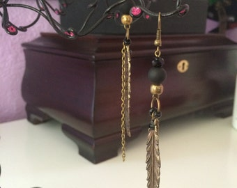 Metal feathers with black beads
