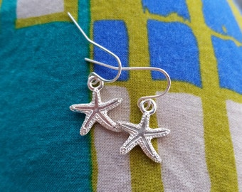 Silver Starfish Dangle Earrings