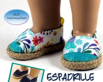 American Girl Espadrille Shoe Pattern for 18 inch Doll Pattern 2 Styles Summer Beach Casual Dolls shoes Appletotes & Co.