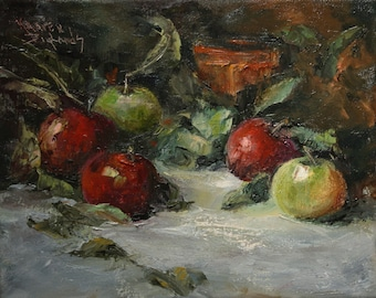 Original Oil Painting - Red and Green Apples Palette knife painting