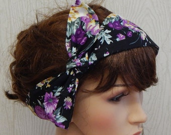 Vintage Style Headband, Tie Up Head Scarf, Dolly Bow Hairband, Retro Hair Wrap, Women's Headband