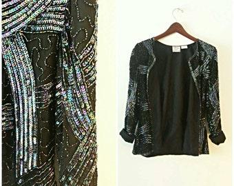 Vintage sequin beaded silk jacket 80s