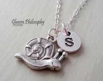 Snail Necklace - Silver Snail Charm Pendant - Personalized Monogram Initial Necklace