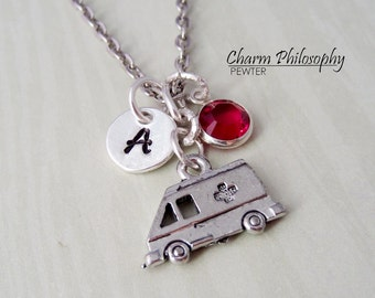 Ambulance Necklace - Personalized Monogram Initial and Birthstone - Pewter Jewelry - Ambulance Charm - Paramedic Gift