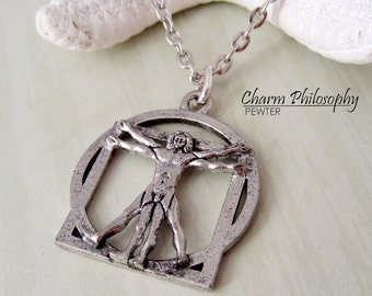 Vitruvian Man Necklace - Leonardo Da Vinci Art Necklace - Antique Silver Pewter Jewelry