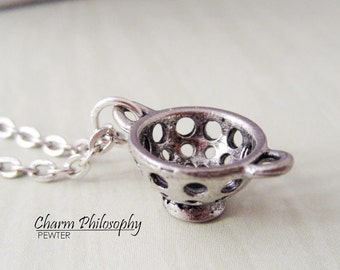 Colander Necklace - Strainer Charm - Silver Pewter Jewelry