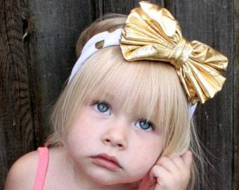 Gold & White Dot Big Bow Headband, Baby Headbands, Metallic Headbands, Kids Headbands, Jersey Knit Headbands