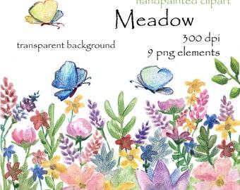 Digital clipart, watercolor clipart, flowers, floral, meadow, field, grass, green, butterfly, moth