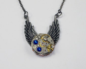 REDUCED!! Steampunk Pendant Wings Vintage Watch Movement Swarovski Crystals Gears Bird Charm