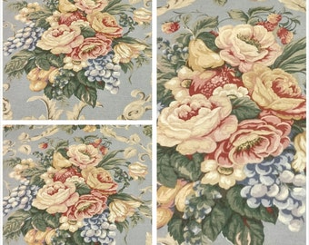 WHOLESALE FABRICS, Drapery Fabric, Upholstery Fabric, Blue Floral and Fruit, Fabric ByThe Yard, DiningRoom/Kitchen/Buffet, Home Decor Fabric