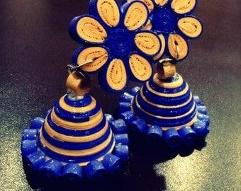 Quilled paper earrings (Jumkas)