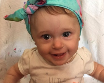 Baby Head Wraps, Tie Dyed, Top Knot,  Baby headband, baby head wrap, toddler pink headband, blue headband