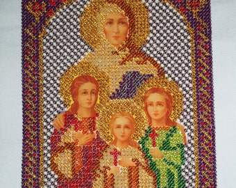 Gifts for Mother Birthday Gift Womans Christmas Gifts For Her Orthodox Icon Beaded Embroidery Beadwork picture Russian icon Christening