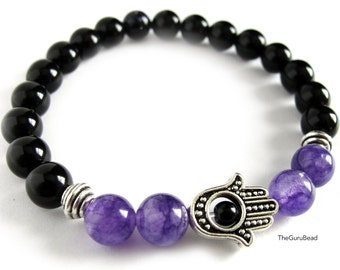 Amethyst Bracelet, Chakra Bracelet, Womens Bracelet, Men Bracelet, Hamsa Bracelet, Jasper Bracelet, Yoga Mala Bracelet, Gemstone Bracelet