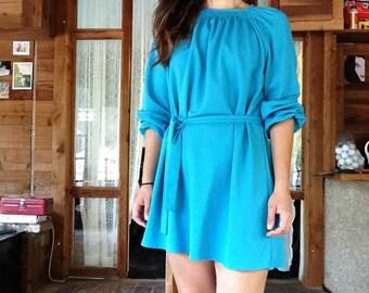 SALE  -Teal 70s Mini Dress with Belt