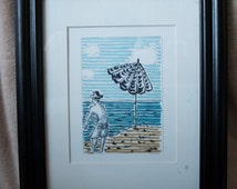 Hat Beach Drawing Framed