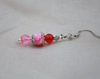 Drops earrings pink and white