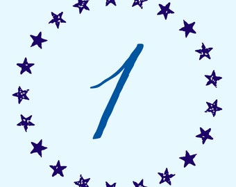 Nautical Inspired Star Table Numbers 1-15