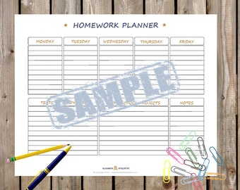 Simple HOMEWORK ORGANIZER - Printable PDF - Printable homework organizer planning template - Weekly homework planner - Instant Download