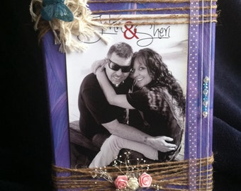 Wooden purple picture frame