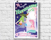 Kids Room Decor- Mermaid and Peter Pan Retro Illustration: You Can Fly to Neverland! Retro Mid-Century Style Library/Reading Poster