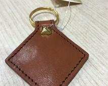 Handmade Keychain pendant Diamond, Leather, handmade in Italy, original