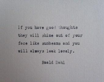 Roald Dahl quote hand typed on antique typewriter valentines scrapbooking
