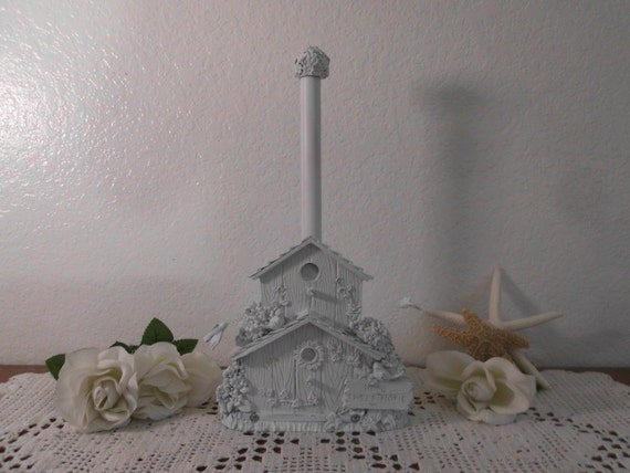 White shabby chic paper towel holder up cycled vintage rustic for Shabby chic towel stand