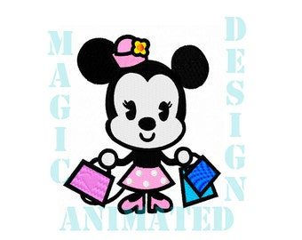 Minnie Mouse Machine Embroidery Design in 2 sizes ---Instant download---