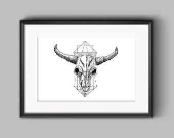 Geometric Horns, Ink Drawing, Digital Print, Black & White, Artwork, Home Decor