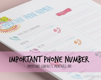Digital Important Phone Numbers - Printable