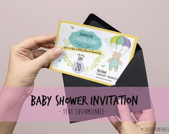 Baby Sprinkle Invitation - Baby Shower Invite Printable File - Text Customizable