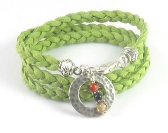 Green Boho Bracelet, Braided Faux Suede Bracelet, Triple Wrap