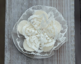 Cream Ivory beaded Bridal Bridesmaid Flower Girl Prom vintage style Lace Hair Clip Corsage Organza Ribbon Hair Wedding Accessory