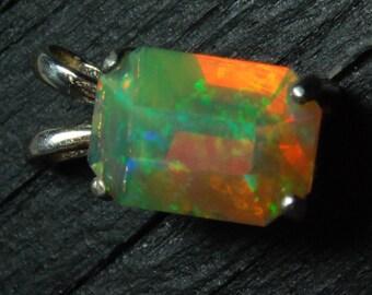 Emerald cut opal pendant