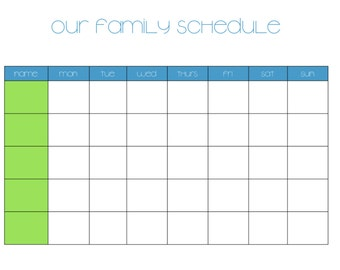 Weekly Family Schedule, Chart, Organization, Planner, Family Information