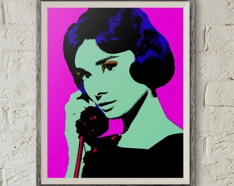 Audrey Hepburn, Pop Art Portrait, Classic Hollywood, Printable Wall Art,Andy Warhol Art,Digital Download Art,Instant Download,Wall Art Print