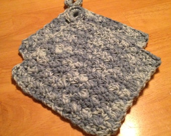 Crochet Potholder Set. Handmade 100% Cotton - Faded Denim, Bridal Gift, Housewarming Gift