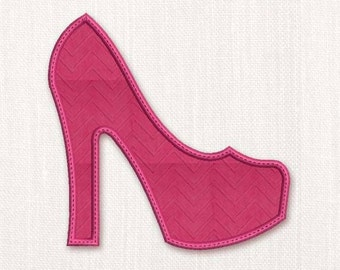High Heel Shoe Applique Machine Embroidery Design 001