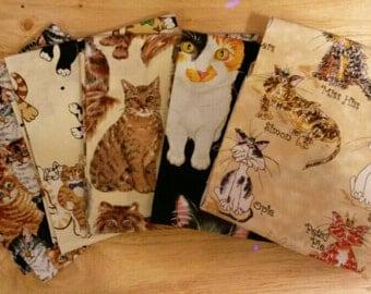 Fat Quarter Fabric Bundle, 5 Different Cat Patterns, Cotton