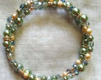 Green and Gold Coil Bracelet