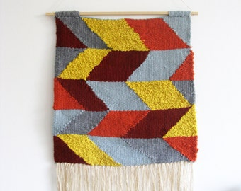 Wall Hanging / Colorful geometric pattern and tassels // Handwoven Tapestry Textile Wall Art Home Decor // Large