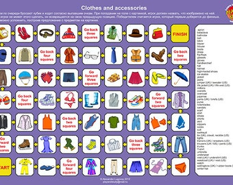 Printable Clothes and Accessories Board Game