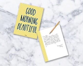 Note Card Stationery | Set of 12 | Good Morning Beautiful | Honeycomb
