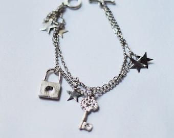 key locket charm bracelet