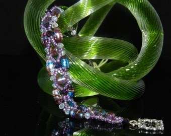 "FT435 Purple Lampwork and Crystal Cross Bracelet, Size  8.5"""