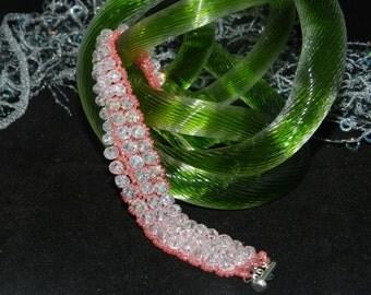 "FT37 Pink Crystal Bangle Bracelet, Size  7"""