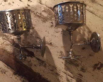 Victorian plated brass bathroom cup and toothbrush holders. Excellent condition.