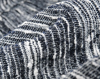 Striped Wool Boucle Fabric; Fashion Fabric with High Contrast Stripes